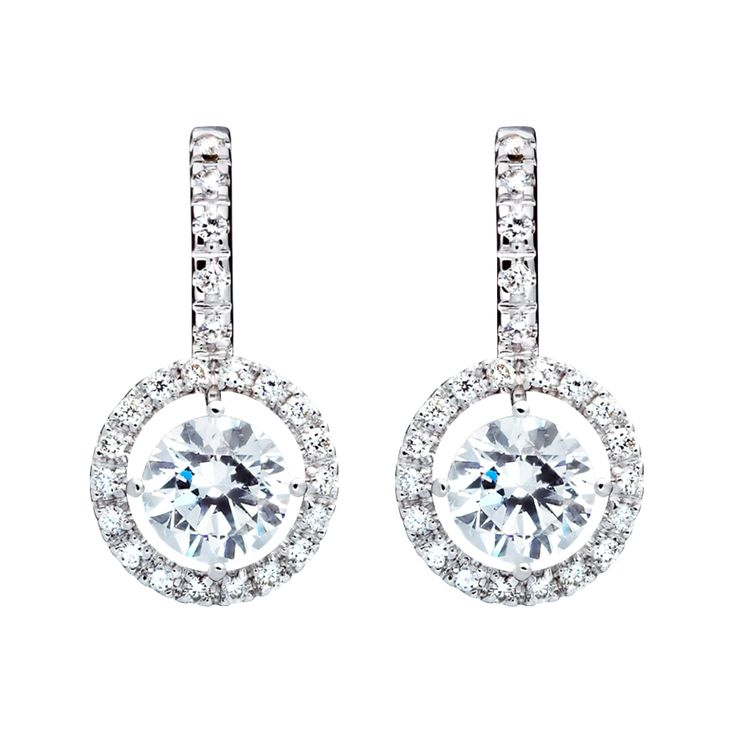 Halo Diamant Ohrringe mit Brillanten in Weißgold | RENÉSIM