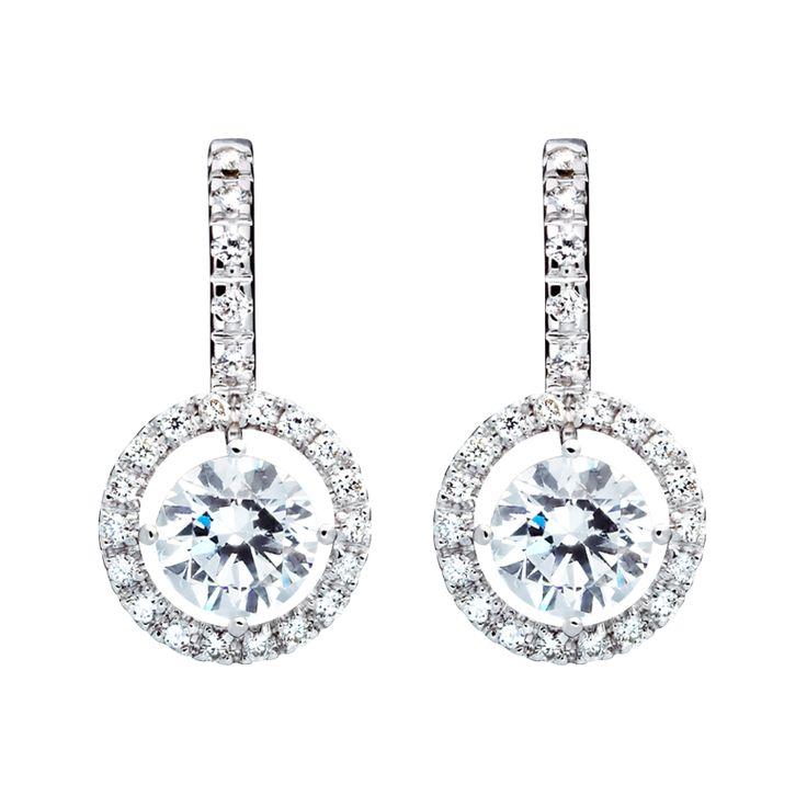 Halo Diamant Ohrringe mit Brillanten in Weißgold   RENÉSIM