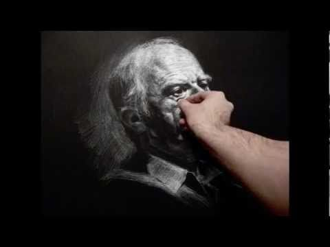 """""""Richard"""" 140 minutes live white chalk pencil on black paper crosshatching drawing demo by Zimou Tan - YouTube"""