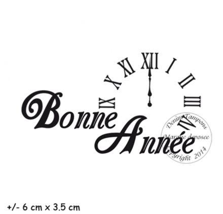Tampon caoutchouc monté sur mousse 'Denim Tampons' Bonne Année Horloge