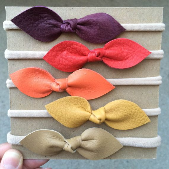 Real Leather Knot Bow // Toddler/Baby nylon elastic by MiloandLucy. NO DIY