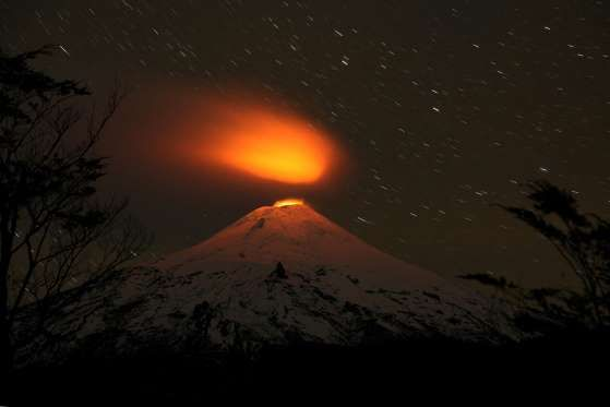 Villarrica Volcano is seen at night from Villarrica national park in Pucon, Chile, May, 2016.