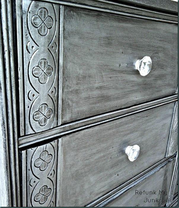 DIY Silver Dresser: CeCe Caldwell Seattle Mist chalk paint + Martha Stewart Black Coffee glaze + CeCe Clear Wax with silver metallic powder pigment added...Refunk My Junk