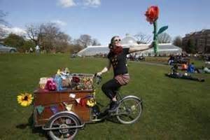 Art on a Bike at the CraftBomb launch at Glasgow Botanic gardens 2013