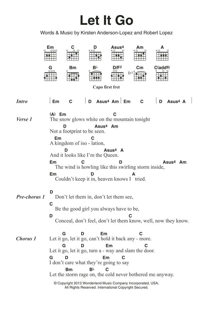 Let It Go from Frozen Sheet Music   Idina Menzel   Guitar Chords ...