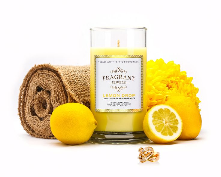 Lemon Drop - Citrus Verbena Jewel Candle.  Made with coconut wax.  I ordered one to try it out and was able to specify my ring size too!