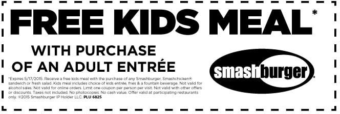 Pinned May 12th Free kids meal with your entree at #Smashburger - coupon disclaimer examples