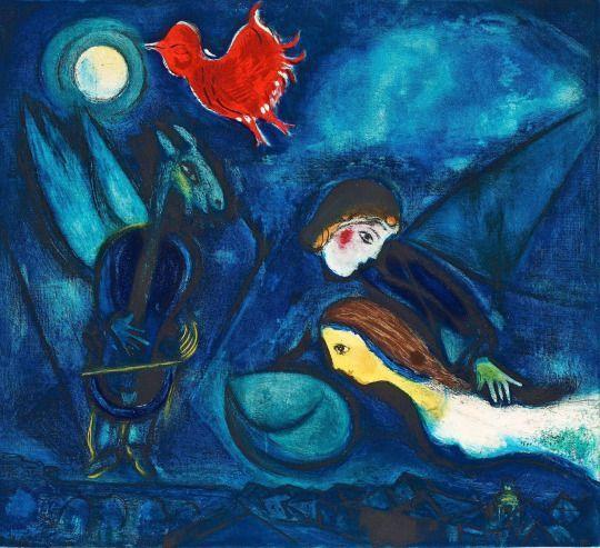 Marc Chagall: Aleko, aquatint in colors, 1955.