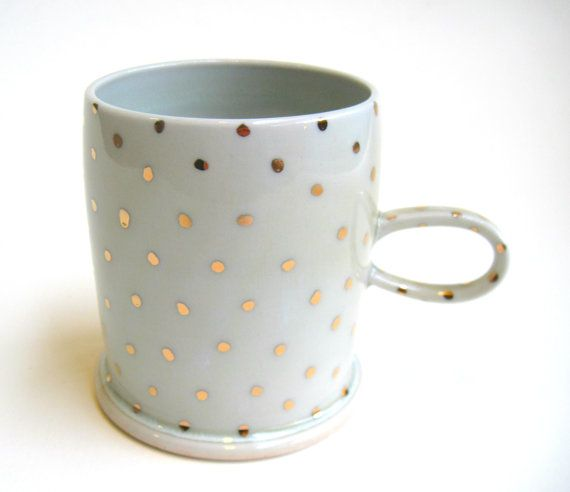 READY TO SHIP Gold Polka Dot Porcelain Mug by SilverLiningCeramics, $36.00