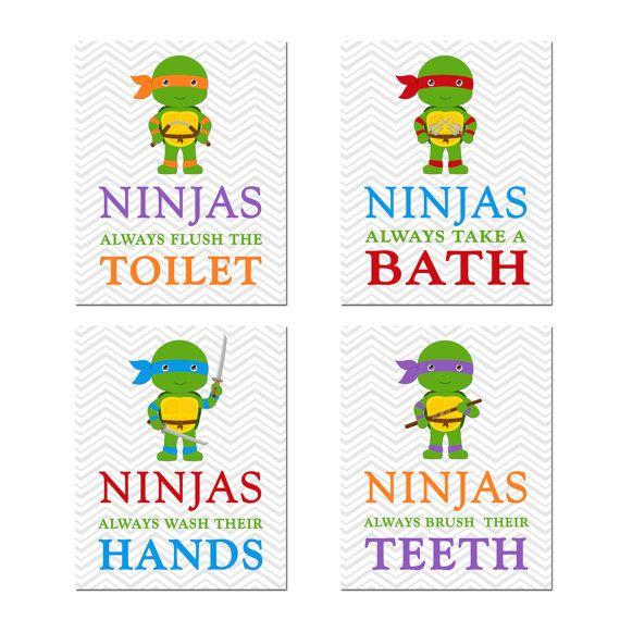 Ninja Turtles Bathroom Rules Set of 4 Ninja by HappyDaysCreation