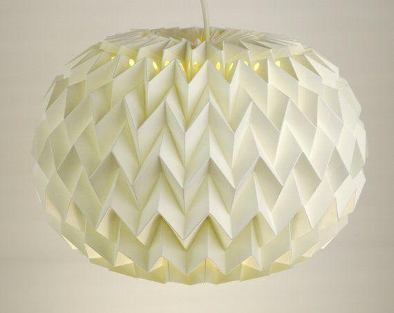 PEBBLE: Origami Paper Table Lamp / Floor Lamp / Pendant / Lamp Shade - White, 15 in dia, 10 in H $95 + $16 S&H