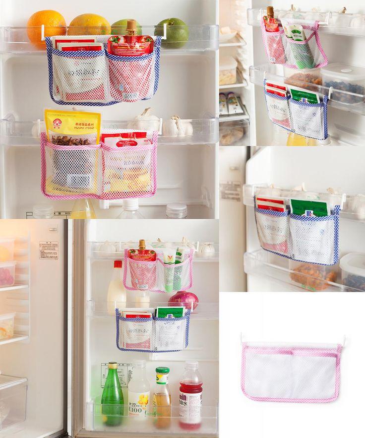 [Visit to Buy] Refrigerator Storage Bag Tidy Seasoning Organizer Mesh Bags Kitchen Fridge Vegetable Organizer Pouch Hanging Pocket For Freezer #Advertisement