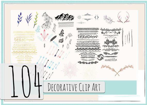 Decorative Clip Art BUNDLE Text Dividers, Ornamental Leaves, Hand Drawn Decorative Elements, Blog Graphics Clip Art Elements, Digital Arrows