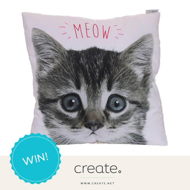 """#WIN adorable """"Meow"""" Kitten Printed Cushion from Poppy's Little Gift Shop with this week's #FreebieFriday."""