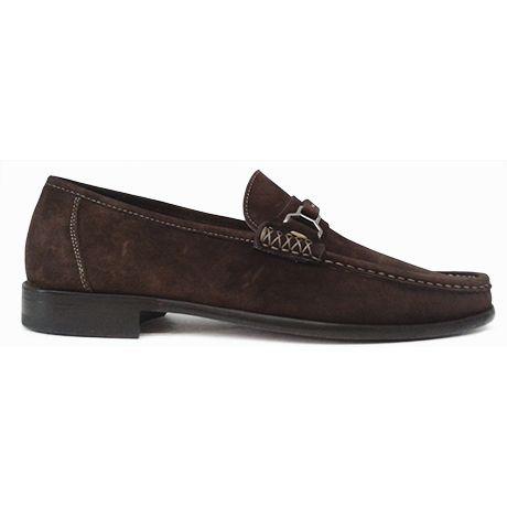 Zapato mocasín con bocado en ante marrón oscuro de Magnanni vista lateral