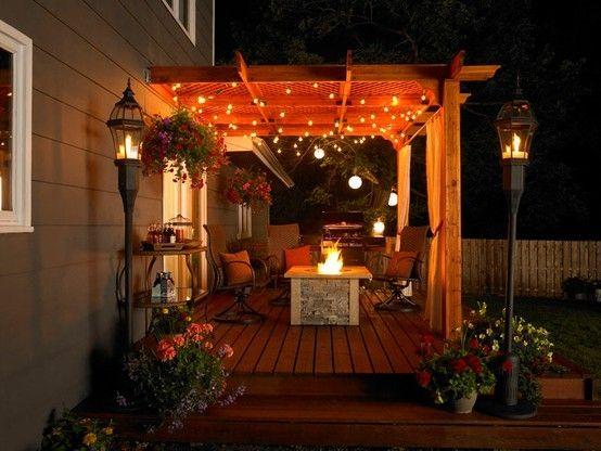 Pergola, string lights - cozy garden Pinterest