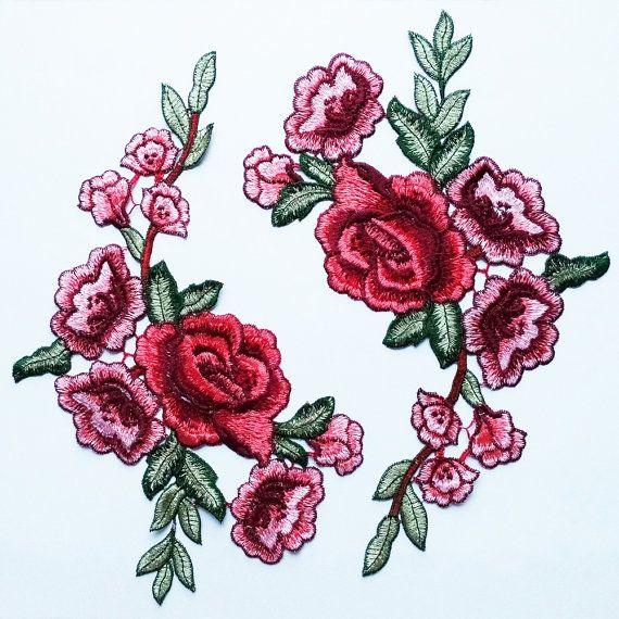 Diseño de vestuario de parches de rosa roja 2 apliques por 8Store