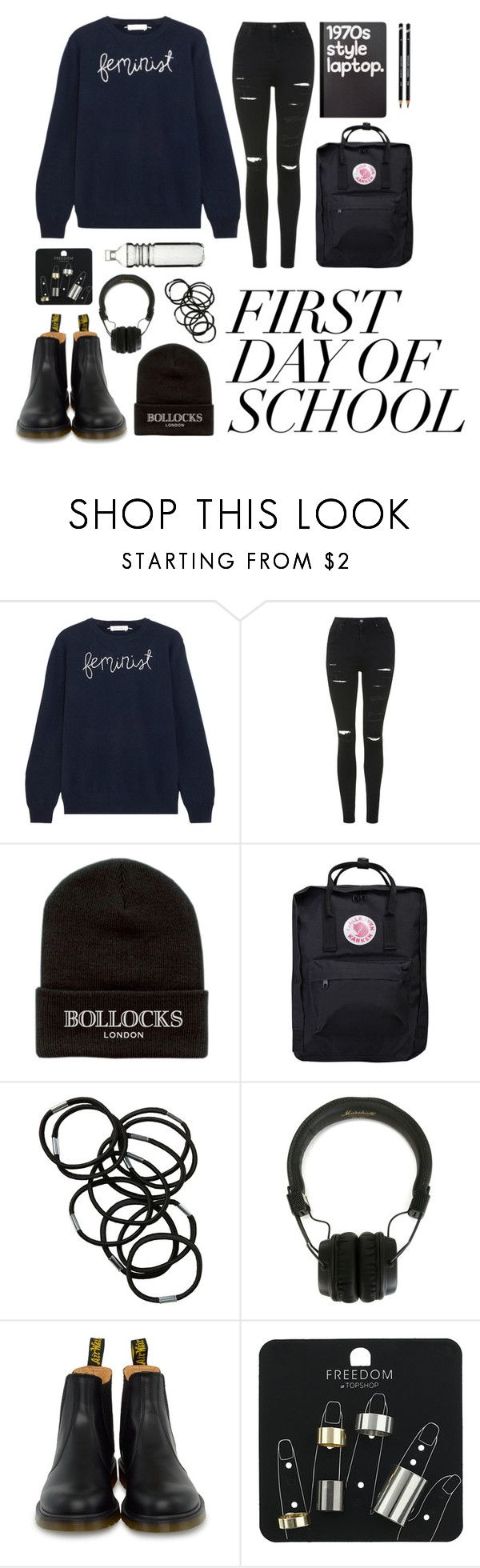 """Contest: First day of school - Feminist"" by shattered-masterpiece ❤ liked on Polyvore featuring Lingua Franca, Topshop, Petals and Peacocks, Fjällräven, Monki, Marshall, Retrò, Dr. Martens and Dot & Bo"