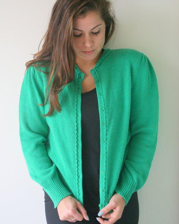 nautical knit Vintage KELLY GREEN Mid Century Cardigan Sweater....size medium green sweater cute buttons mod designer retro preppy