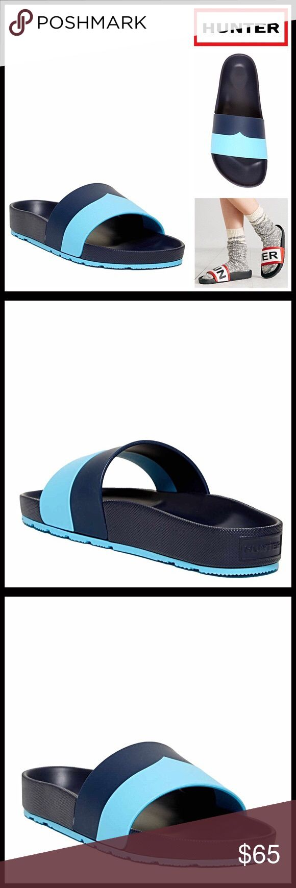 "HUNTER ORIGINAL SANDALS Flats Slides HUNTER ORIGINAL SANDALS Flats Slides   SIZING: True to size, whole sizes only, if between sizes order down, tagged size 7, fits sizes 7-7.5   MADE IN ITALY   COLOR: Blue, Navy   ABOUT THIS ITEM   * An amazing water resistant style!   * Open toe   * Wide colorblock strap vamp   * Slip on   * Molded contoured footbed   * High quality & well made   * Approx 0.75"" high heel & 0.5"" platform  MATERIAL EVA upper & sole ITEM#  ❌NO TRADES❌ ✅BUNDLE DISCOUNTS ✅…"