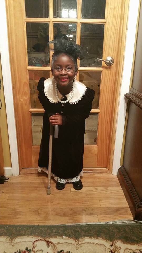 My niece dressed as 100 year old lady for 100 days of school