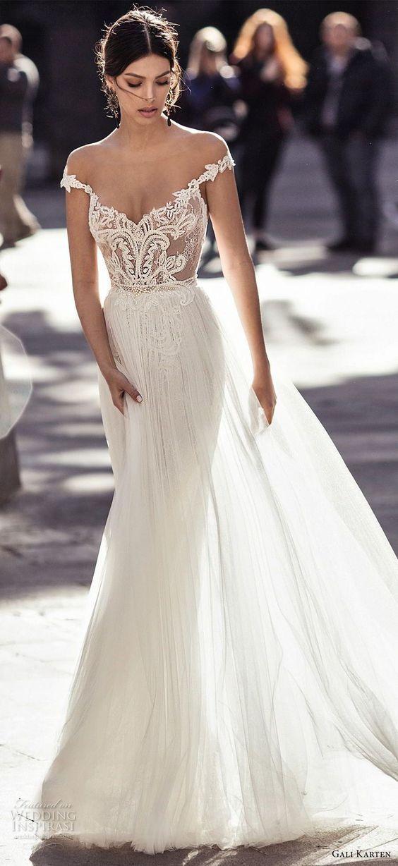 off shoulder long wedding dress sweep train lace Wedding Dress,Simple White Sati…