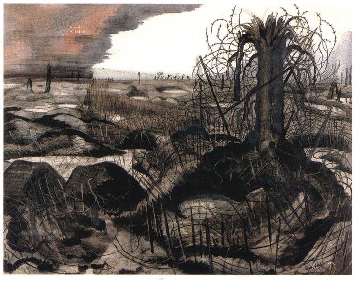 Wire - Paul Nash..How does he make wire look this dark and intimidating ,because of the great viewpoint he's in ,like an ant's view ,you get the feeling its towering over you.Simple sometimes is key.