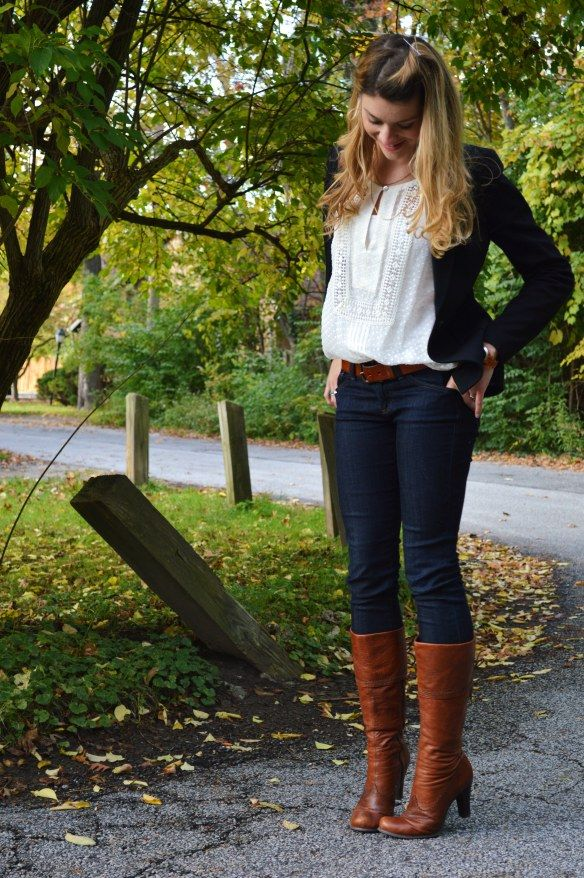 Understated Outfit With Cognac Accents Cartonnier Emerson Blazer In Black Meadow Rue Sugared ...