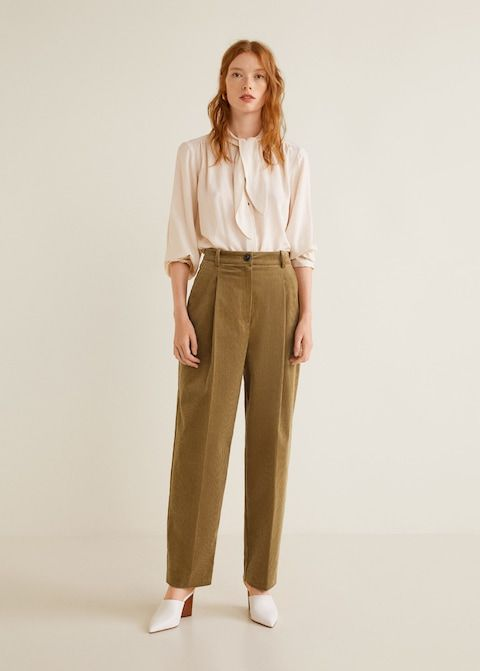 Tie Neck Blouse Women Mango Usa Pantalones De Vestir Ropa Ropa Vintage