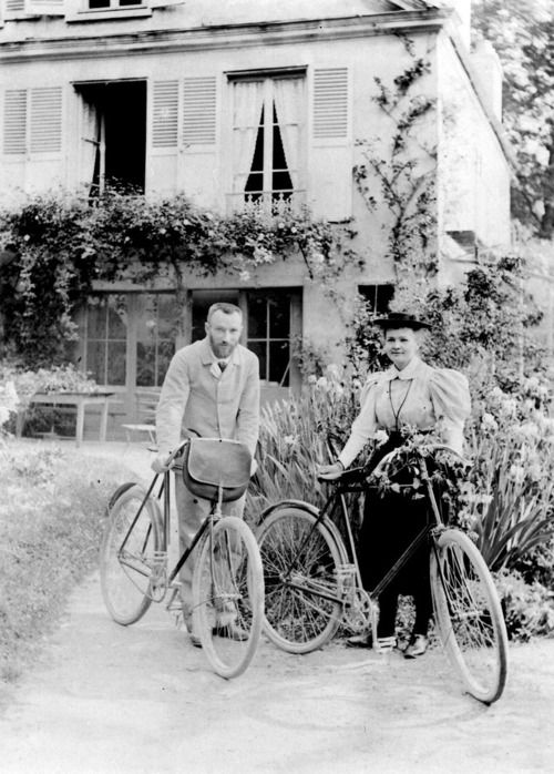 Pierre and Marie Curie shortly after their wedding, 1895, Sceaux -nd  chagalov.tumblr.com    [for their wedding contract] - There was no lawyers necessary, as the marriage pair possessed nothing in the world - nothing but two glittering bicycles bought the day before with money sent as a present from a cousin, with which they were going to roam the countryside in the coming summer.— Ève Curie, in Madame Curie (1938)    photo from Institut Curie