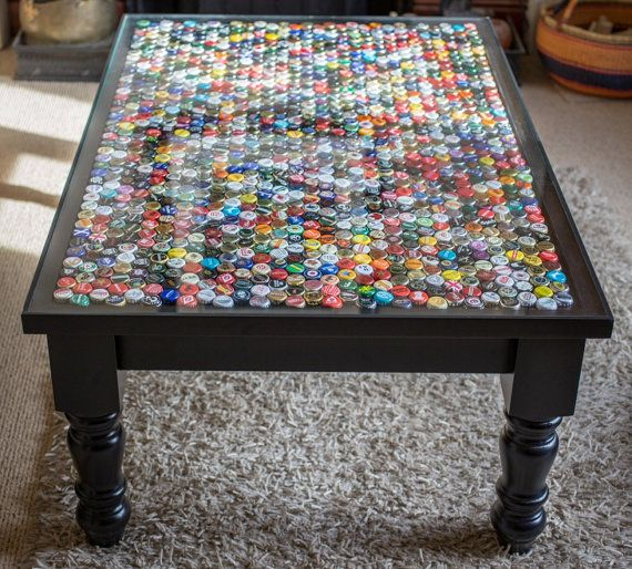 Bottle cap coffee table / occasional table by TableAndCap on Etsy
