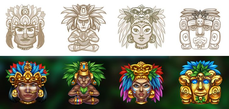 "Graphic design of symbols for the game slot-machine ""Mayan adventure"" All items are developed in the ancient style of Maya. Enjoy! http://slotopaint.com"