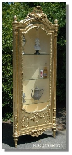 gold leaf CORNER CUPBOARD lighted old styl victorian Rococco display cabinet
