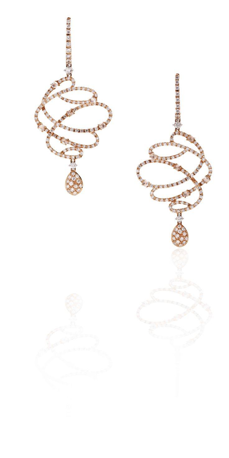 Casato Roma Gioielli: 18 kt Rose Gold earrings with Diamonds