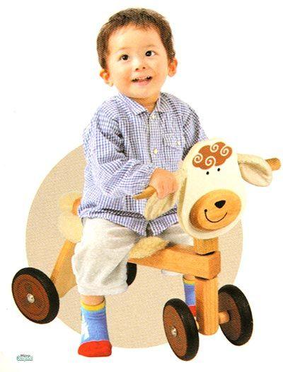 Triciclo in Legno Cavalcabile MUCCA cm 47x42x30 per bambini. Primi Passi. Età 18 Mesi. I'm Toy.