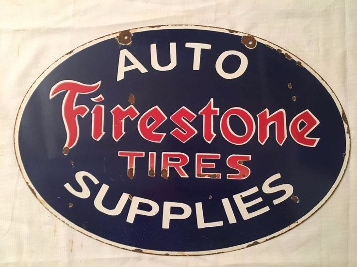 1940's Vintage Porcelain Firestone Tires Supplies Enamel Sign #Firestone