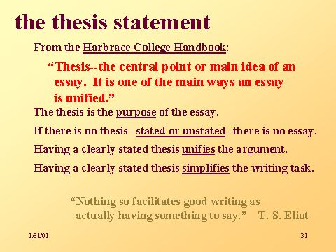 tone of a thesis statement Definition of thesis a thesis is a statement or central idea that a writer puts forward at the beginning of an argument, and will support throughout the following textthe thesis is a.