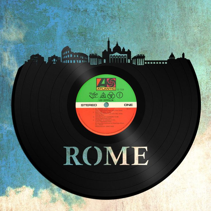 Rome Art, Rome Skyline, Italian Gift, Cityscape Art, Italy Deco Wall Art, Vinyl Record Decor, Abstract Home Decor, black and white City Art by VinylShopUS on Etsy