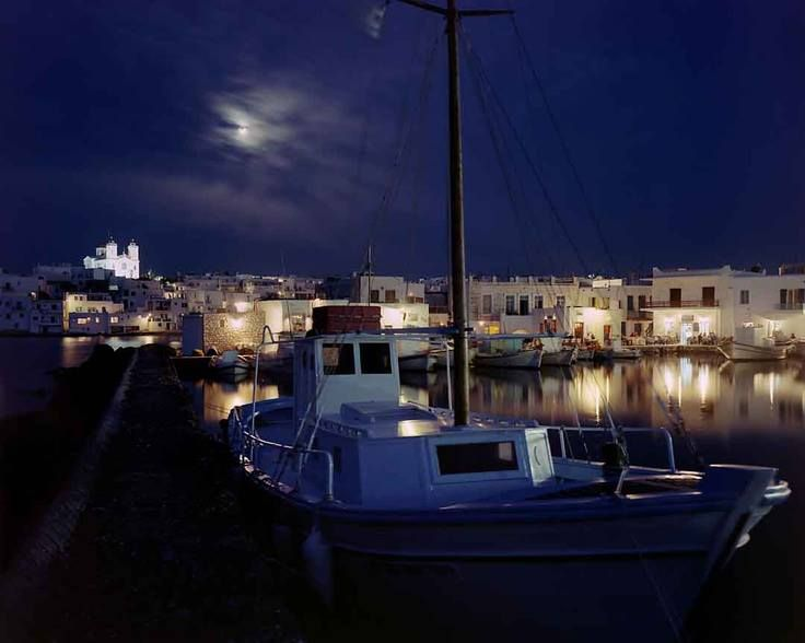 Enjoy Naoussa port #Paros by night for a stroll...