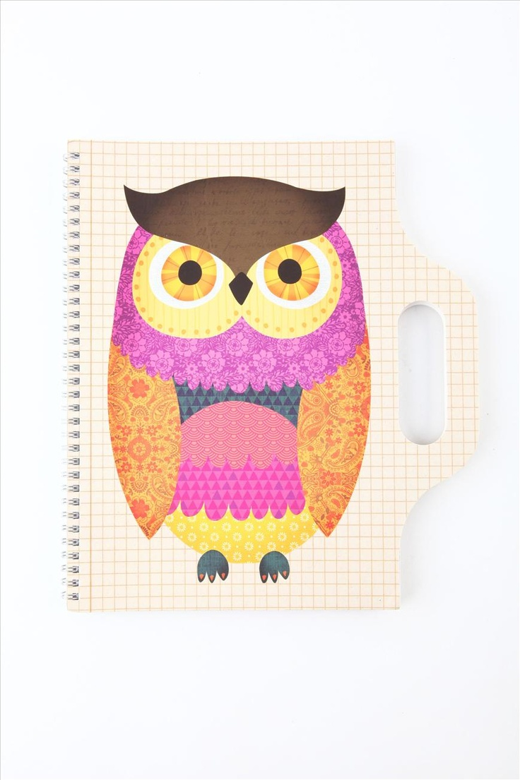 Owl illustration for A4 carry me sketch book | Cotton On