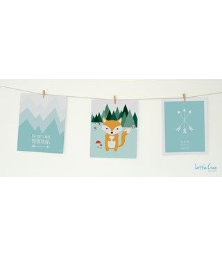 Lottie Coco - Foxy Pastels - Woodland Fox, Kid You'll Move Mountains and You Are Our Greatest Adventure prints. Print pack for your nursery or childs room. These packs come with string and mini wooden pegs hanging kit. www.lottiecoco.co.nz