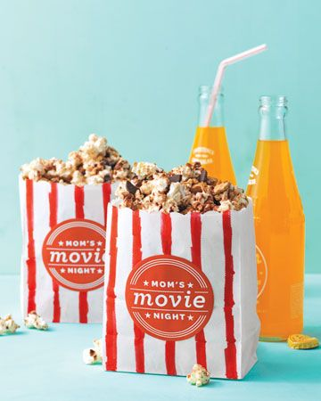 movie night printableFun Recipe, Mothers Day, Paper Bags, Movienight, White Paper, Flavored Popcorn, Popcorn Recipe, Martha Stewart, Movie Night