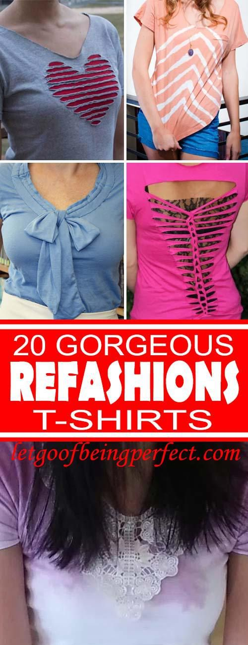 An awesome list of 20 t-shirt refashions! Refashion / upcycle those t-shirts with a little creativity! Step-by-step DIY sewing tutorial for upcycling clothes into a unique t-shirt. All have step-by-step tutorials. Remake, redo, reuse, and recycle to help save money and save the planet. Explore the web site for more refashioning tutorials, dozens of cute refashionista and fashion ideas with good, clear photos and instructions. http://letgoofbeingperfect.com