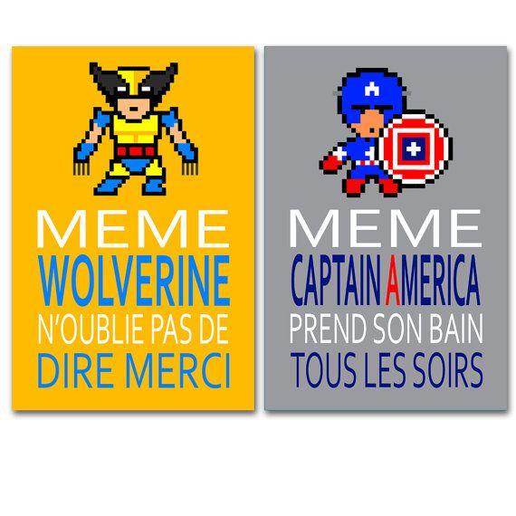 2 affiches citation superhéros Wolverine et Captain par alexiableu