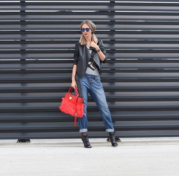 #leather #handmade #anileda #red #jeans #leatherjacket #streetstyle #style #woman #fall #autumn #sunglasses