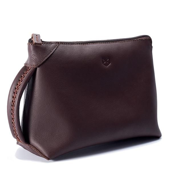 MENS LEATHER TOILETRY DOPP KIT // BROWN by Capra Leather