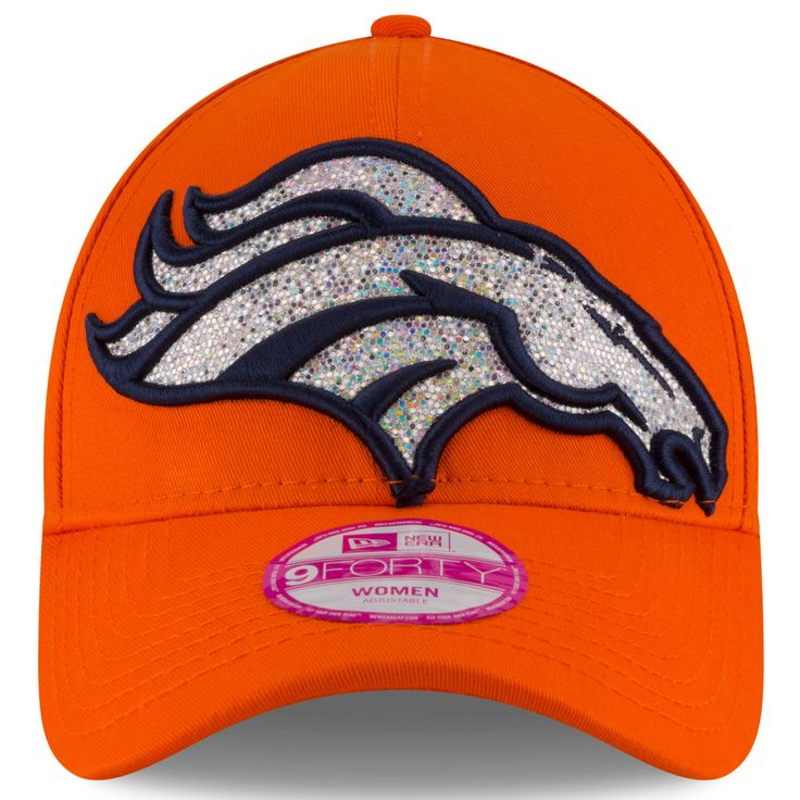 Denver Broncos New Era Women's Glitter Glam 2 9FORTY Adjustable Hat - Orange