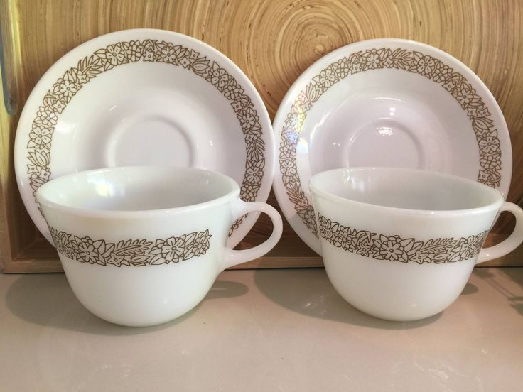 Vintage Pyrex USA 'Woodland' Coffee Cups & Saucers