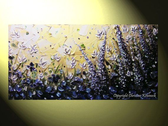 Original Art Abstract Painting Purple Flowers Lilacs Poppies Lavender by Christine Krainock Contemporary Palette Knife Paintings Home Decor Office
