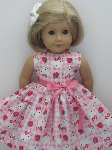 Hello Kitty Gingham Strawberry Clothes Dress Fits American Girl Doll New | eBay